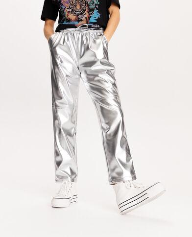 Pantalon faux cuir gris
