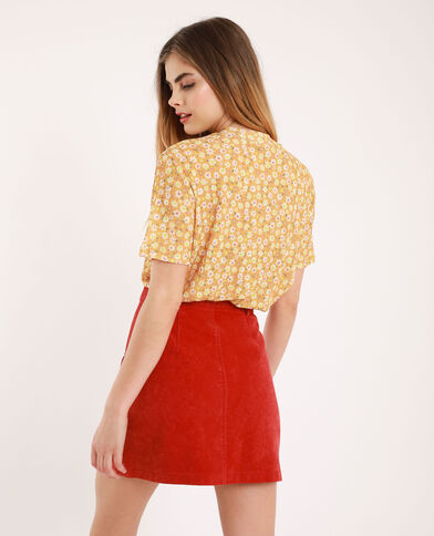 T-shirt met opstaande kraag geel