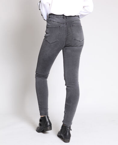 Jean skinny taille haute gris