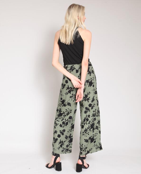 Wijde broek met bloemenprint kaki
