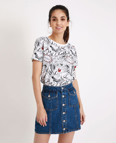 T-shirt met stripboekprint wit