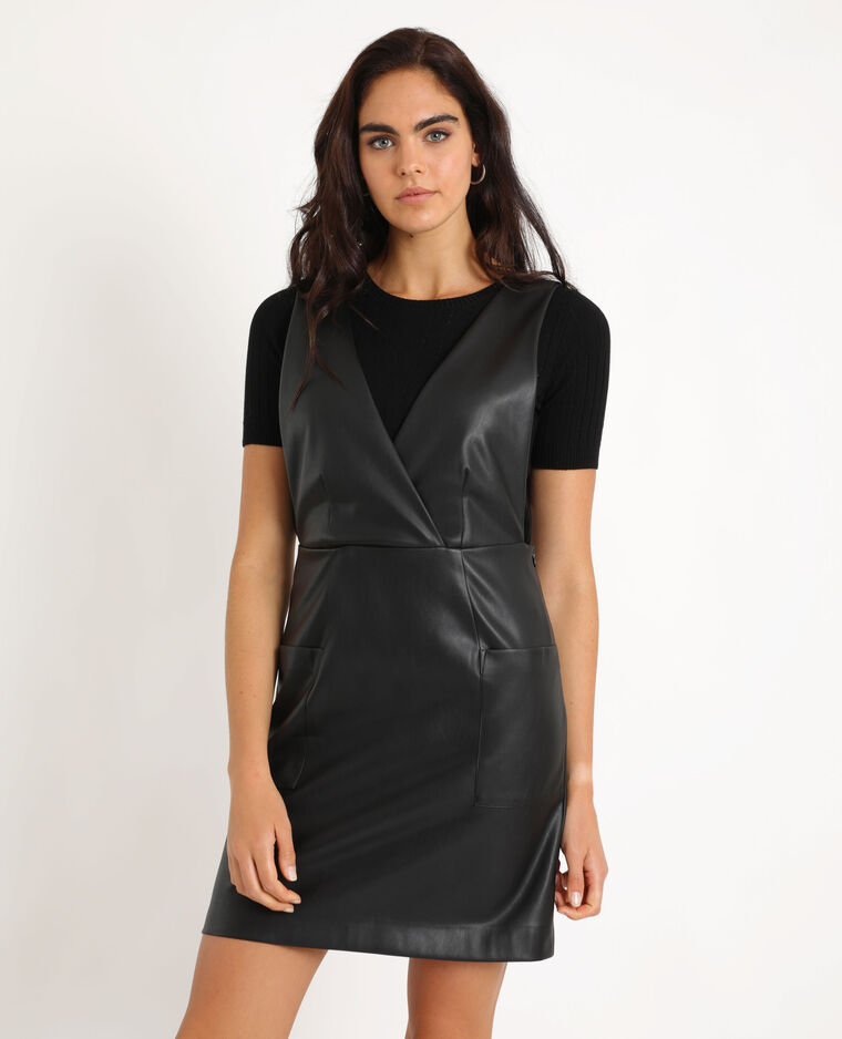 Robe chasuble en faux cuir noir