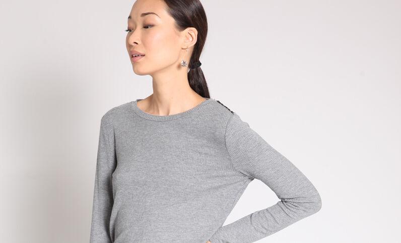 T-shirt met kant grijs
