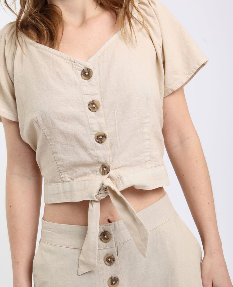 Korte blouse beige