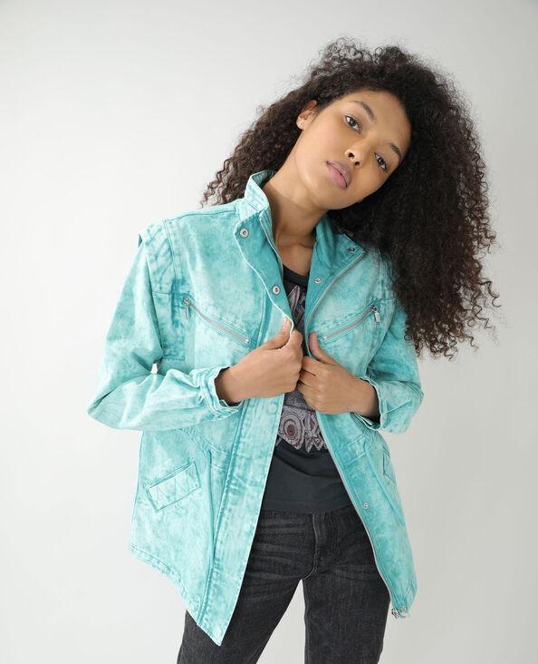 Veste longue en jean turquoise