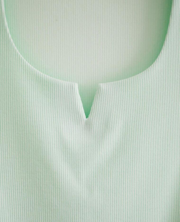 T-shirt décolleté V vert d'eau