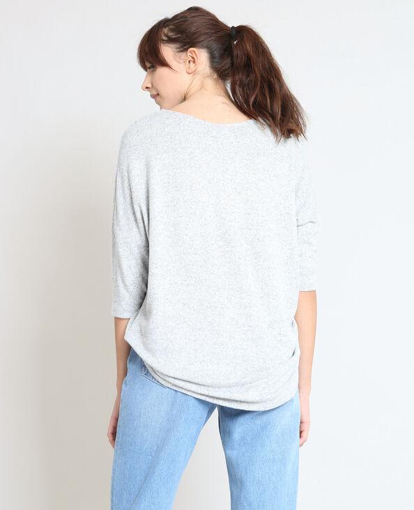 T-shirt met borduursels parelgrijs