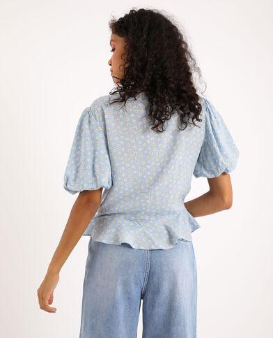 Shirt met fronsjes blauw