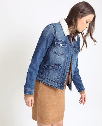 Veste en jean fourrée bleu denim 3cf0dcaa779d