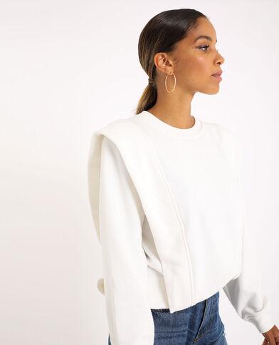 Sweater met epauletten gebroken wit