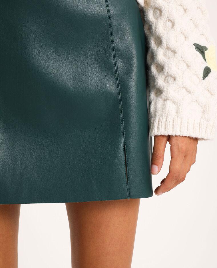 Korte rok van kunstleer groen