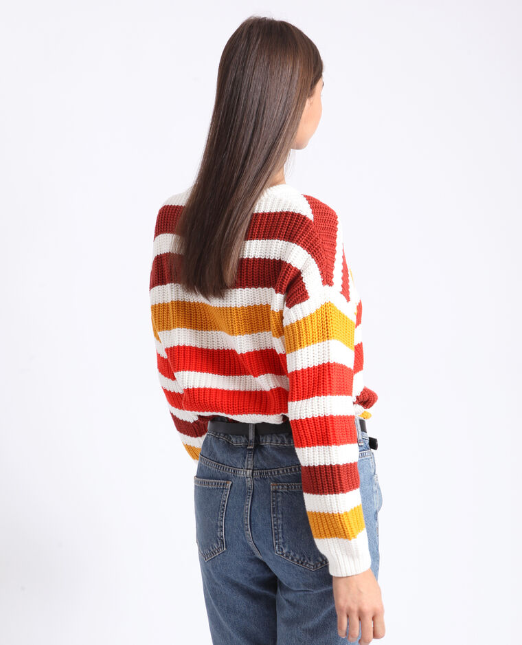 Pull à rayures rouge