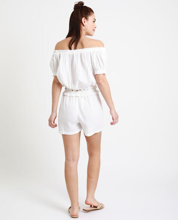 Kort shirt van crêpestof wit