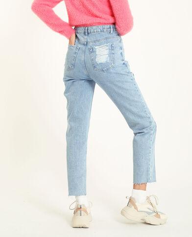 Rechte jeans met hoge taille Lichtblauw