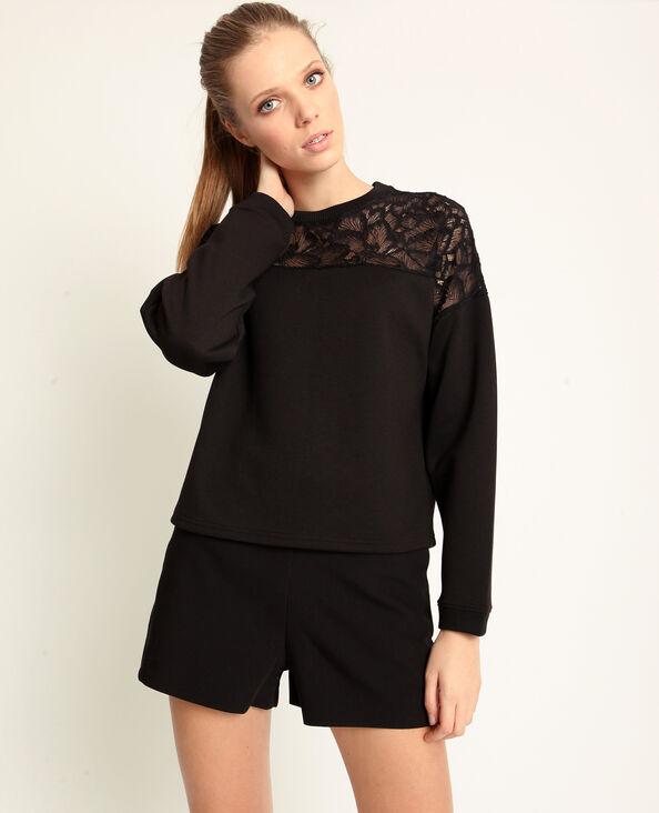 Sweater van twee verschillende materialen zwart