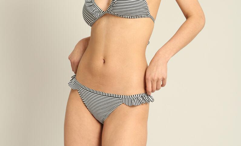 Bas de bikini rayé écru