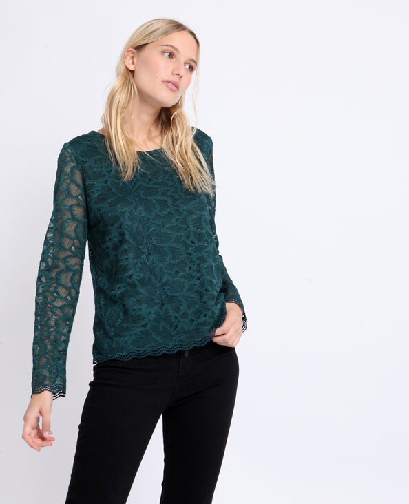 T-shirt met kant groen