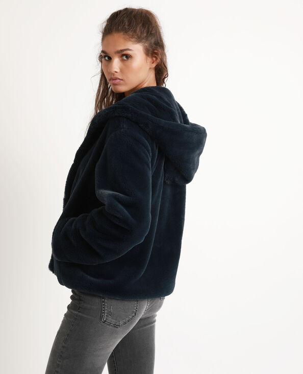 Korte jas van nepbont blauw