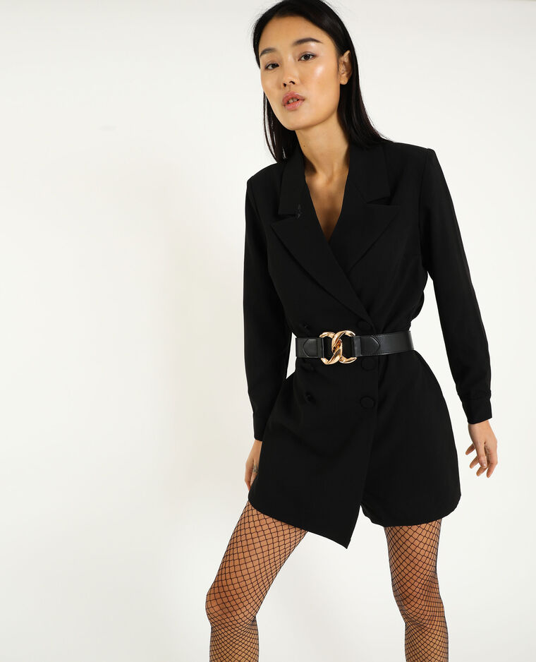 Playsuit in blazerstijl zwart