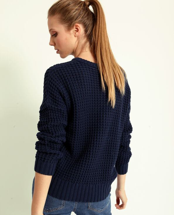 Trui van dik tricot donkerblauw