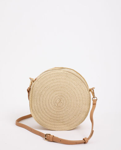 Sac rond en paille beige taupe