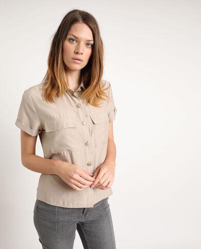 Chemise à manches courtes beige