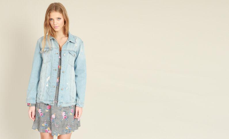 Veste en jean oversized bleu délavé