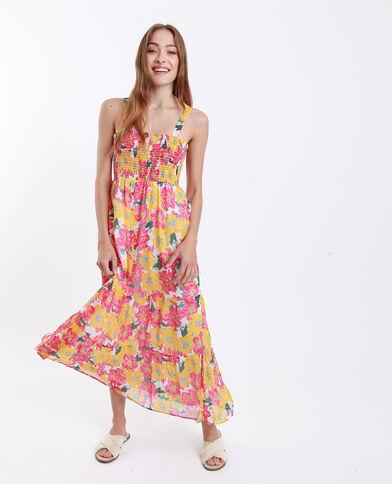 Fleurige lange jurk geel