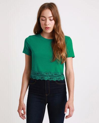 Kort T-shirt met kant groen