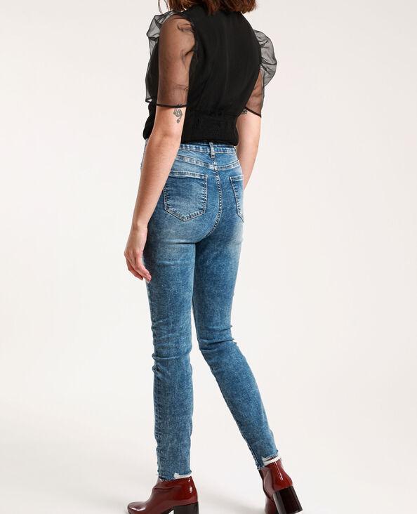 Verwassen skinny jeans met hoge taille denimblauw