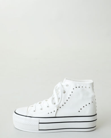Hoge sneakers met platformzolen en studs wit - Pimkie