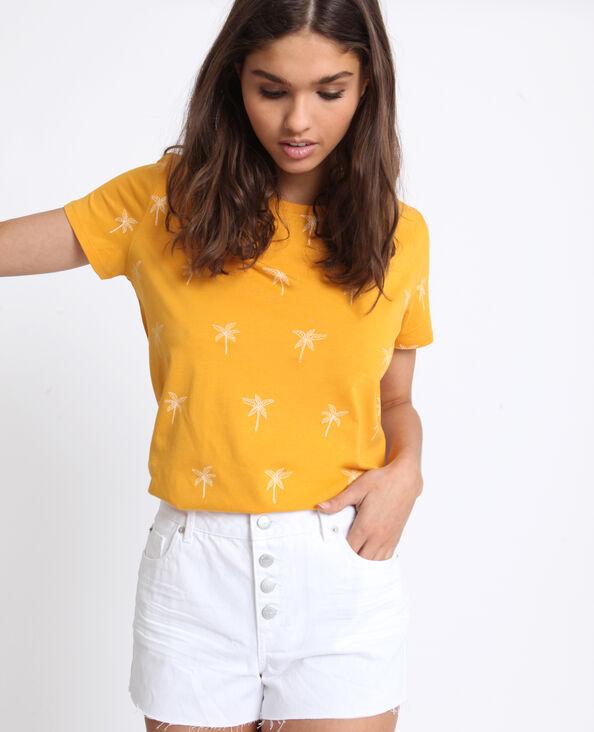 T-shirt met print bruin