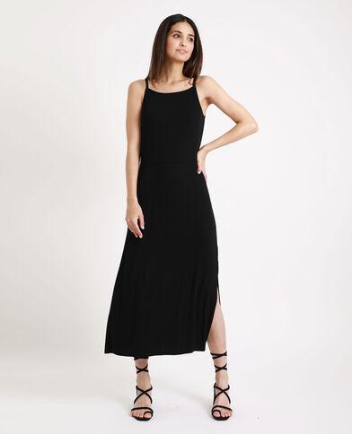 Lange jurk van ribstof zwart