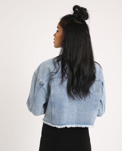 Kort jeansjasje verwassen blauw