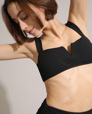 Sportieve bikinitop van ribstof zwart
