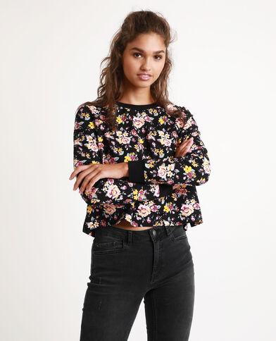 Sweater met bloemenprint zwart