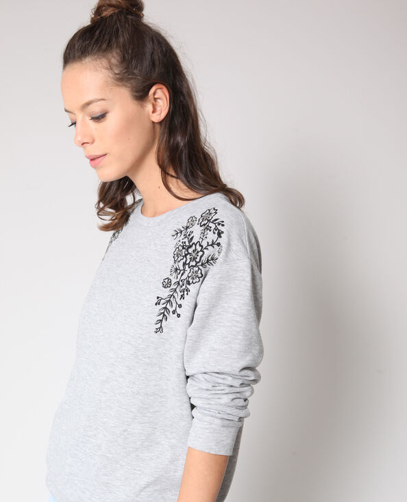 Sweater met borduursels grijs