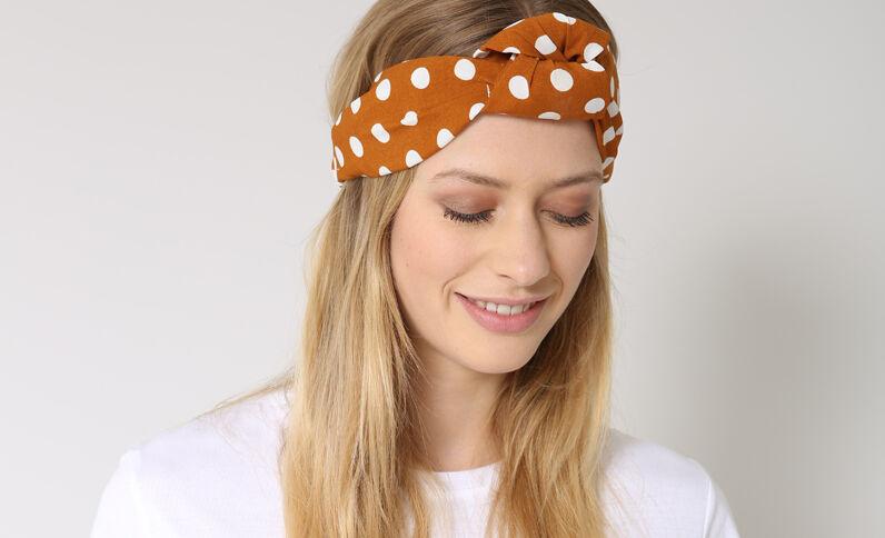 Haarband met stippen bruin