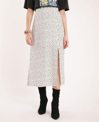 Lange rok met stippen wit