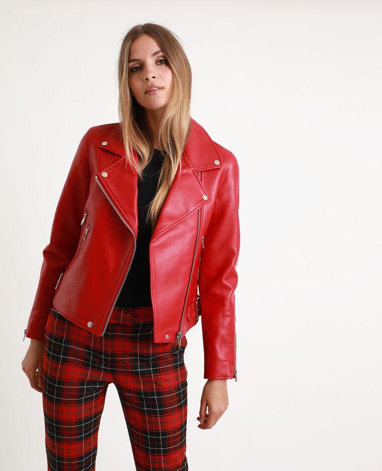 Veste biker en simili cuir rouge - Pimkie