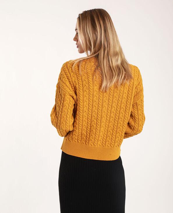 Vest met kabelpatroon geel