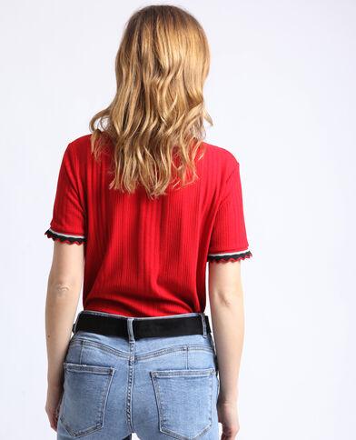 T-shirt en maille côtelée rouge