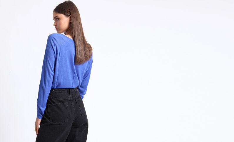 Dunne trui met V-hals zeeblauw