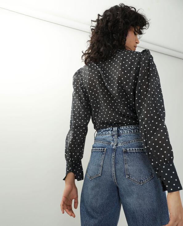 Chemise à pois transparente noir