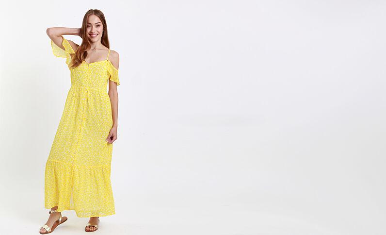 Lange jurk met open schouders geel