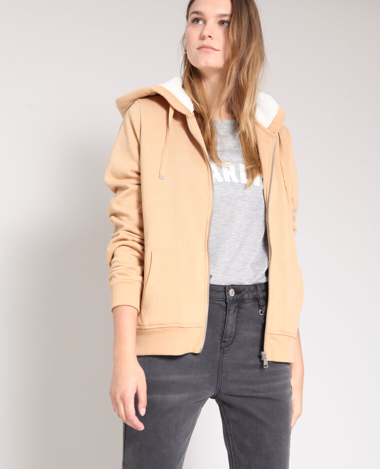 Sweat zippé beige sable