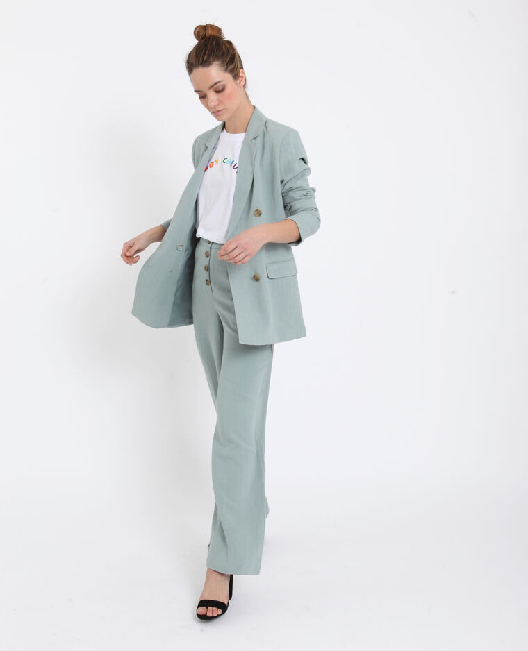 Pantalon 30% lin vert d'eau