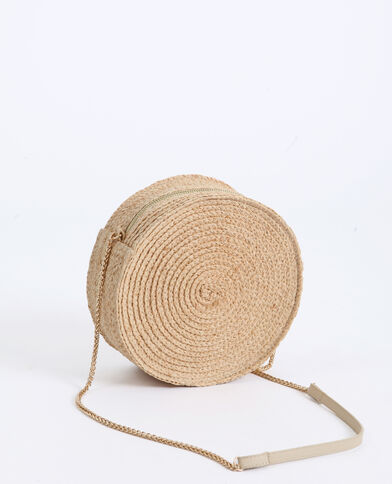 Ronde handtas van stro kastanjebruin