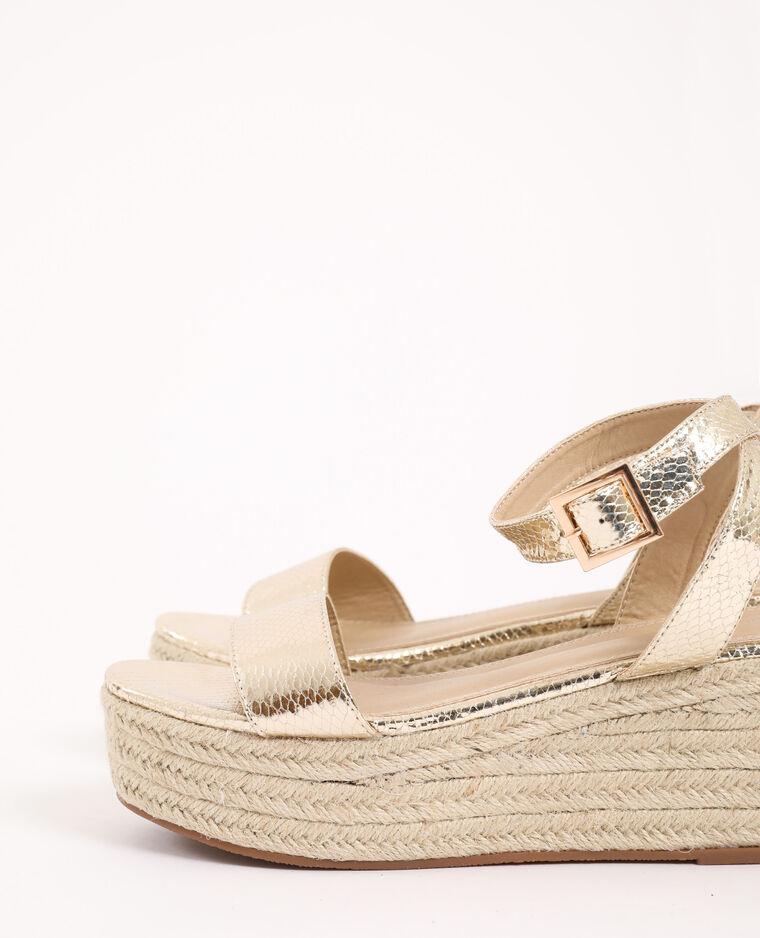 Sandales compensées en paille doré