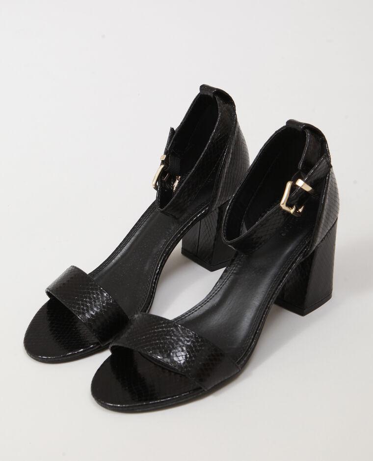 Sandales en faux cuir noir